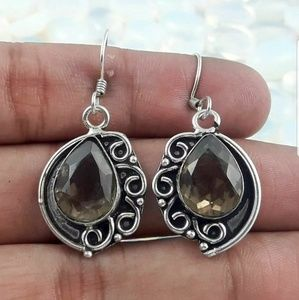 Handmade Smoky quartz gemstone earrings